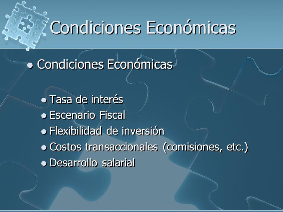Condiciones Económicas Tasa de interés Escenario Fiscal Flexibilidad de inversión Costos transaccionales (comisiones, etc.) Desarrollo salarial Condiciones Económicas Tasa de interés Escenario Fiscal Flexibilidad de inversión Costos transaccionales (comisiones, etc.) Desarrollo salarial