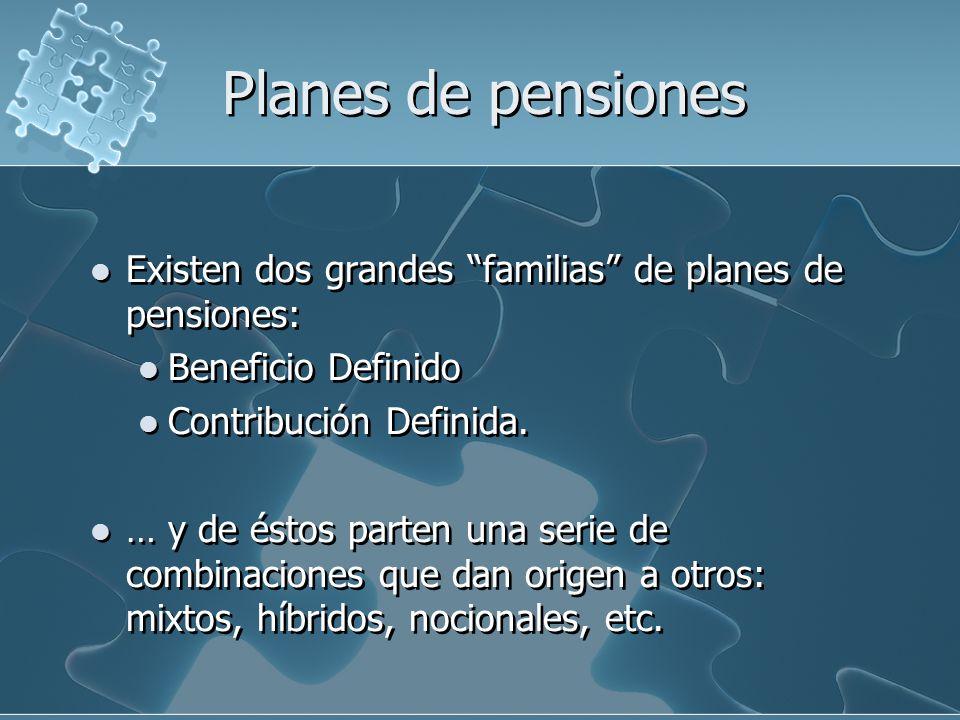 Planes de pensiones Existen dos grandes familias de planes de pensiones: Beneficio Definido Contribución Definida.