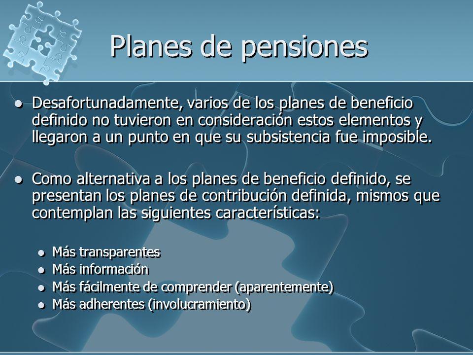 Riesgos de los planes de pensiones Sin embargo los riesgos a que se hayan expuestos las pensiones son independientes al plan de pensiones y a su sistema de financiamiento.