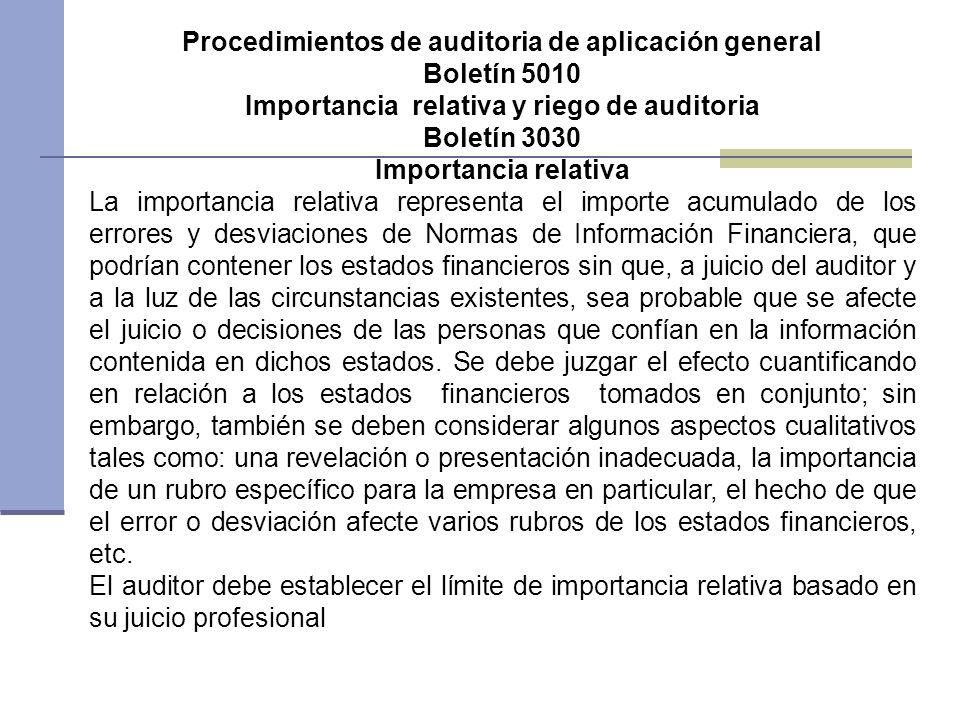 Procedimientos de auditoria de aplicación general Boletín 5010 Importancia relativa y riego de auditoria Boletín 3030 Importancia relativa La importan