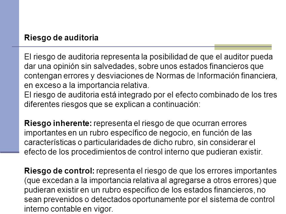 Riesgo de auditoria El riesgo de auditoria representa la posibilidad de que el auditor pueda dar una opinión sin salvedades, sobre unos estados financ