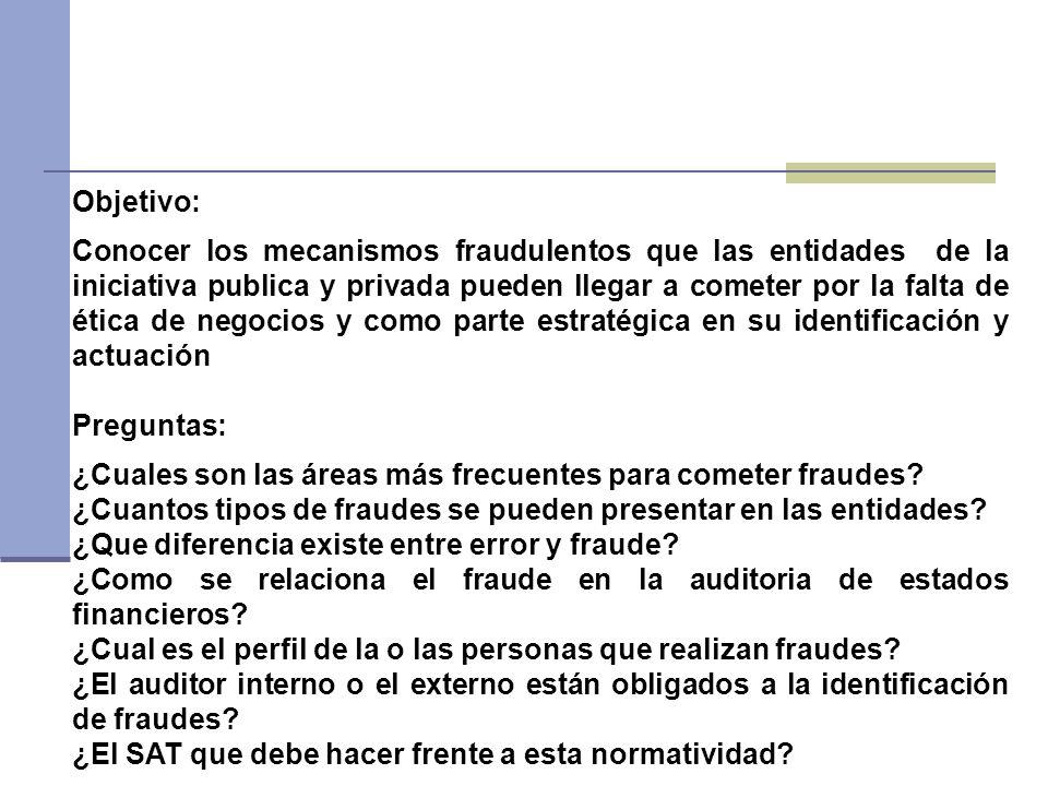 Objetivo: Conocer los mecanismos fraudulentos que las entidades de la iniciativa publica y privada pueden llegar a cometer por la falta de ética de ne