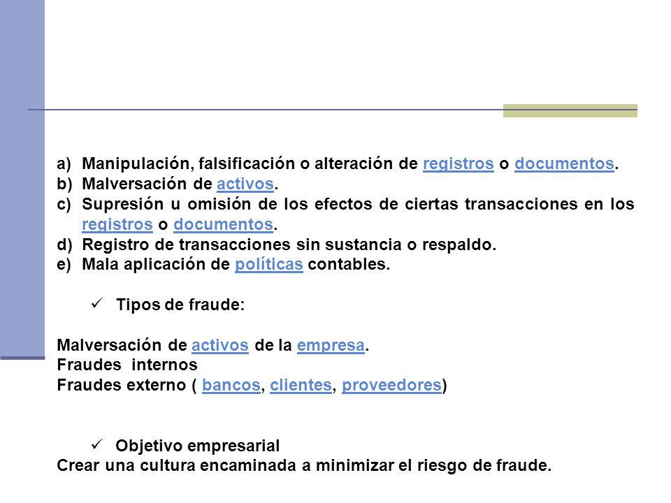 a)Manipulación, falsificación o alteración de registros o documentos.registrosdocumentos b)Malversación de activos.activos c)Supresión u omisión de lo