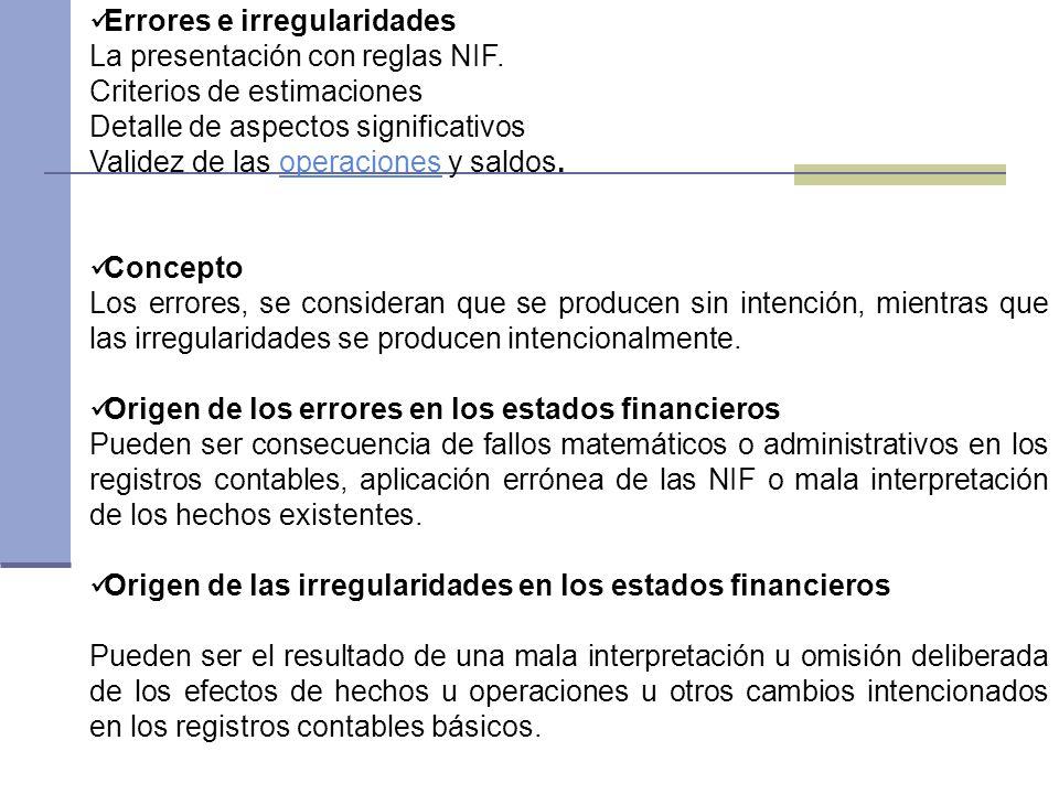 Errores e irregularidades La presentación con reglas NIF. Criterios de estimaciones Detalle de aspectos significativos Validez de las operaciones y sa