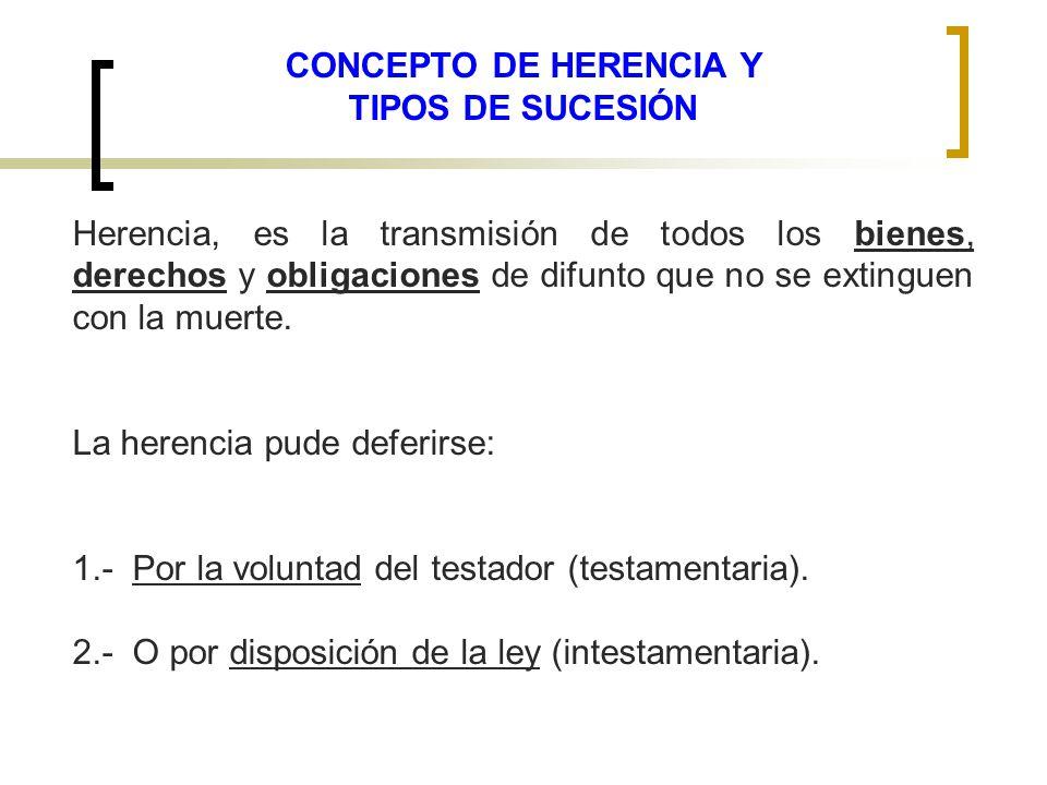 CONCEPTO DE HERENCIA Y TIPOS DE SUCESIÓN Herencia, es la transmisión de todos los bienes, derechos y obligaciones de difunto que no se extinguen con l