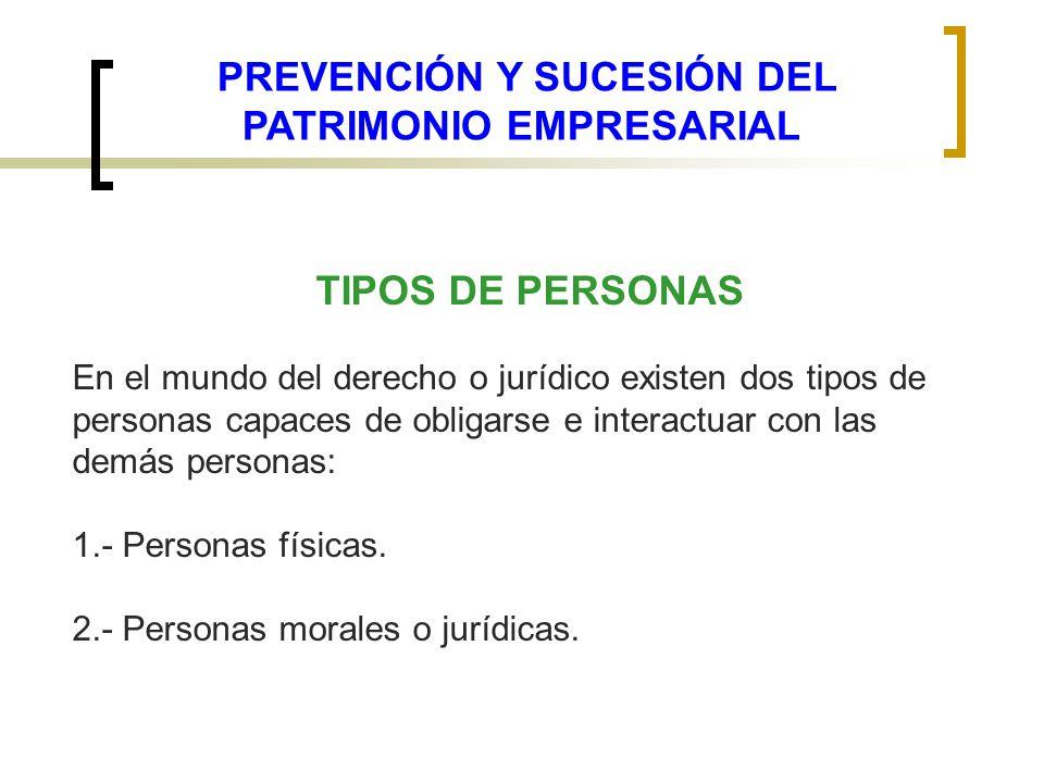 TIPOS DE PERSONAS En el mundo del derecho o jurídico existen dos tipos de personas capaces de obligarse e interactuar con las demás personas: 1.- Pers