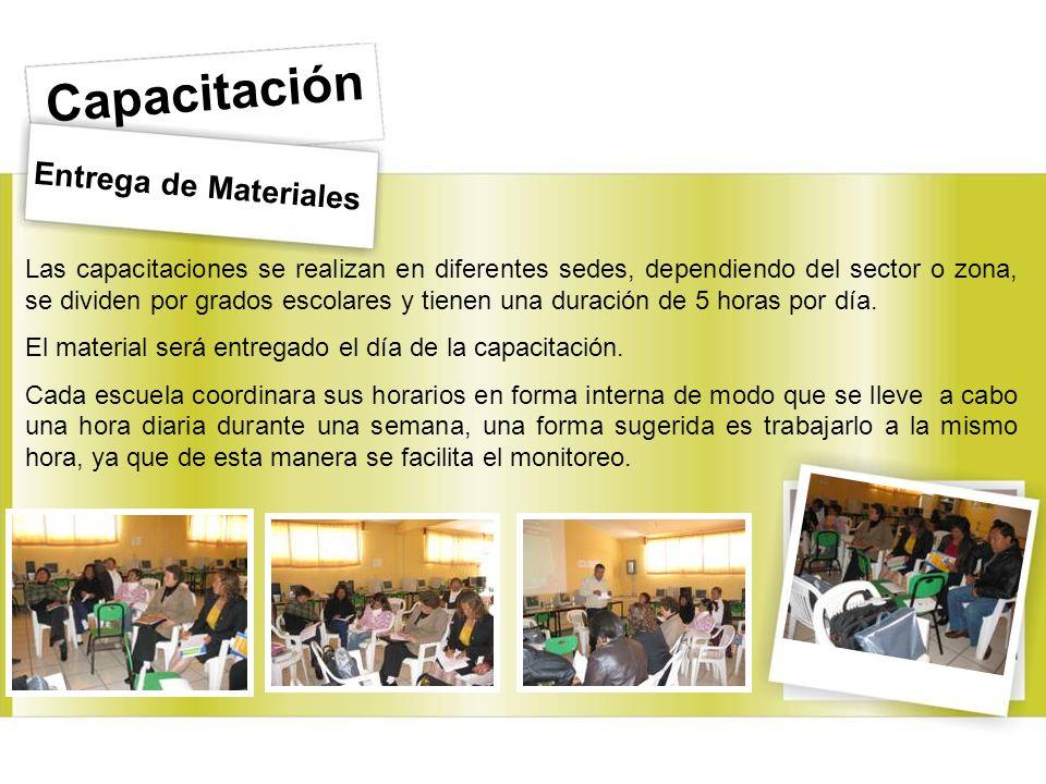 Entrega de Materiales Capacitación Las capacitaciones se realizan en diferentes sedes, dependiendo del sector o zona, se dividen por grados escolares y tienen una duración de 5 horas por día.