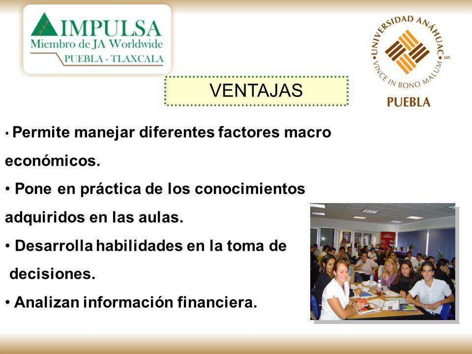 VENTAJAS Permite manejar diferentes factores macro económicos.