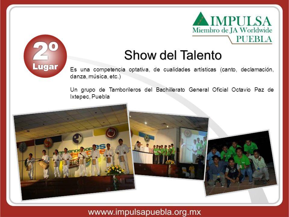 Show del Talento Es una competencia optativa, de cualidades artísticas (canto, declamación, danza, música, etc.) Un grupo de Tamborileros del Bachille