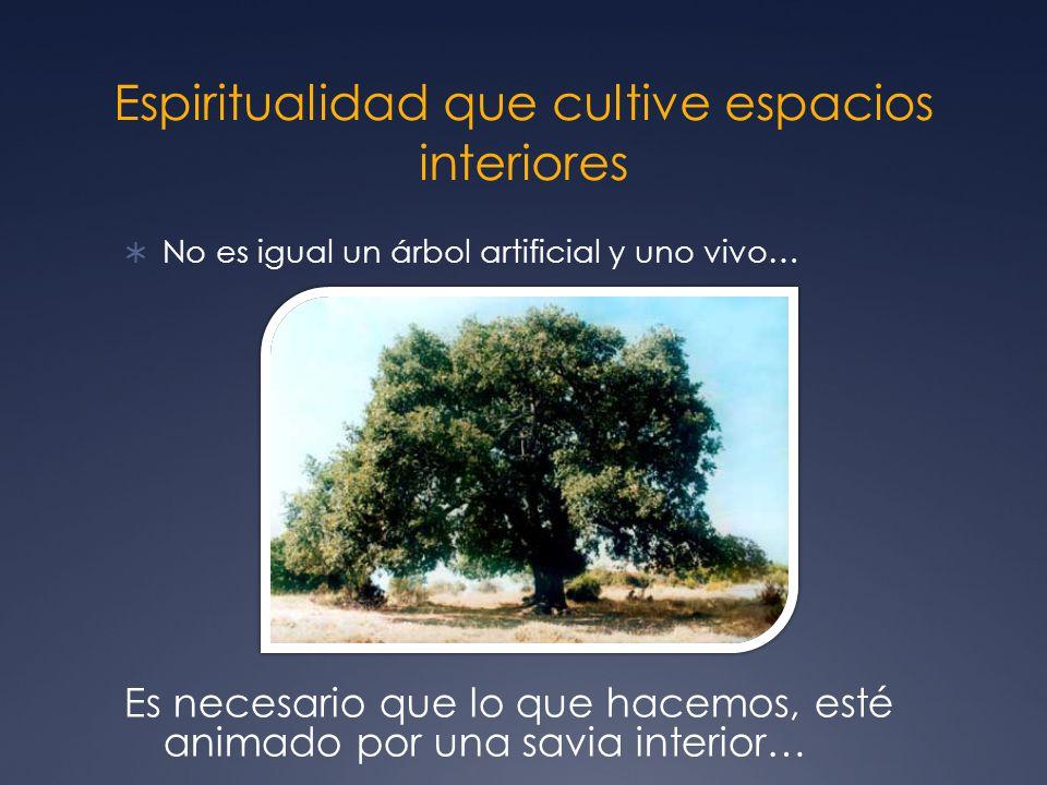 Espiritualidad que cultive espacios interiores No es igual un árbol artificial y uno vivo… Es necesario que lo que hacemos, esté animado por una savia interior…