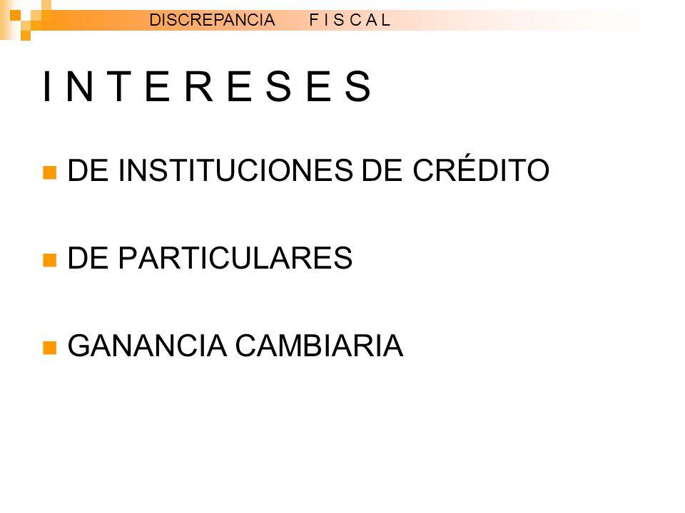 I N T E R E S E S DE INSTITUCIONES DE CRÉDITO DE PARTICULARES GANANCIA CAMBIARIA DISCREPANCIA F I S C A L