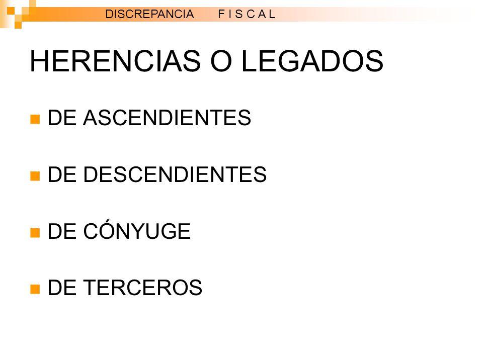 HERENCIAS O LEGADOS DE ASCENDIENTES DE DESCENDIENTES DE CÓNYUGE DE TERCEROS DISCREPANCIA F I S C A L