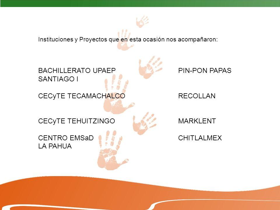 Instituciones y Proyectos que en esta ocasión nos acompañaron: BACHILLERATO UPAEP PIN-PON PAPAS SANTIAGO I CECyTE TECAMACHALCORECOLLAN CECyTE TEHUITZINGOMARKLENT CENTRO EMSaDCHITLALMEX LA PAHUA