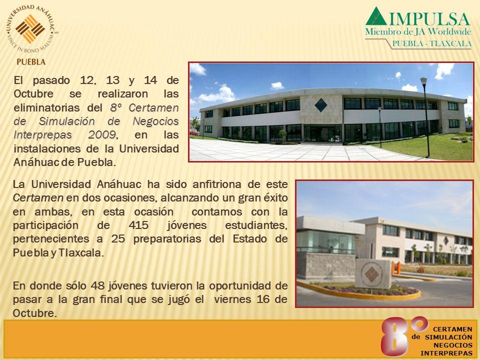 8º Certamen de Simulación de Negocios Interprepas 2009 El pasado 12, 13 y 14 de Octubre se realizaron las eliminatorias del 8º Certamen de Simulación de Negocios Interprepas 2009, en las instalaciones de la Universidad Anáhuac de Puebla.