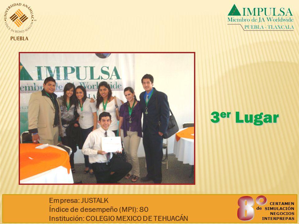 3 er Lugar CERTAMEN SIMULACIÓN NEGOCIOS INTERPREPAS de Empresa: JUSTALK Índice de desempeño (MPI): 80 Institución: COLEGIO MEXICO DE TEHUACÁN