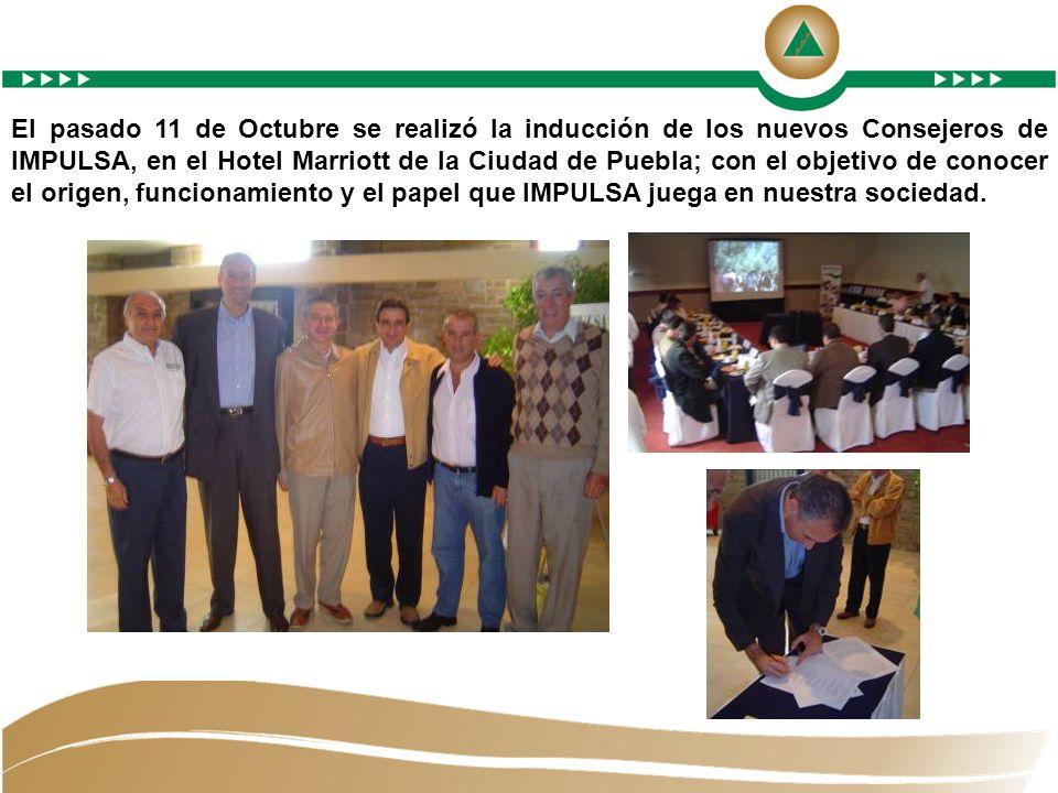 El pasado 11 de Octubre se realizó la inducción de los nuevos Consejeros de IMPULSA, en el Hotel Marriott de la Ciudad de Puebla; con el objetivo de conocer el origen, funcionamiento y el papel que IMPULSA juega en nuestra sociedad.