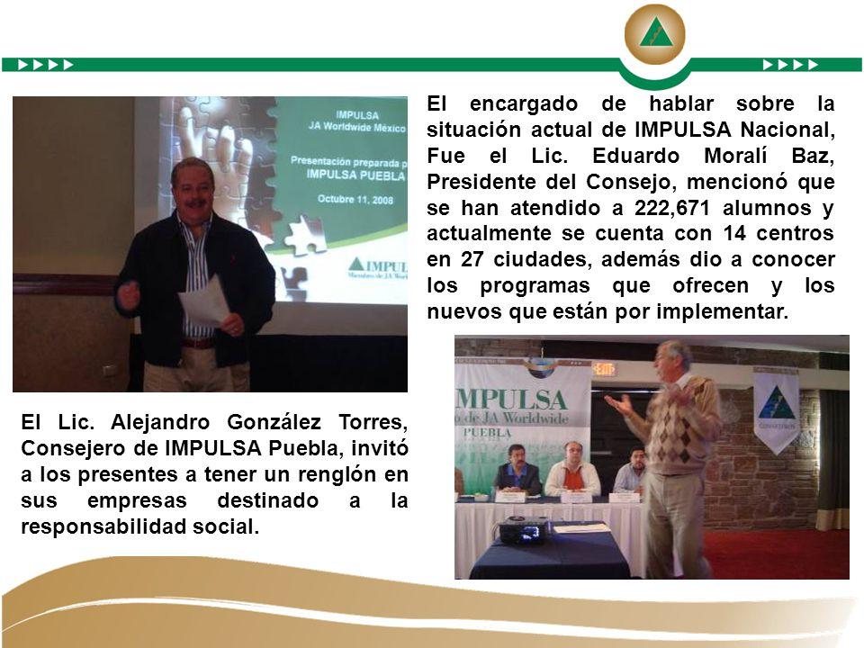 El encargado de hablar sobre la situación actual de IMPULSA Nacional, Fue el Lic.