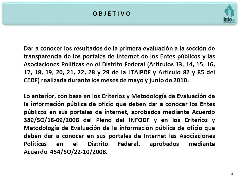 O B J E T I V O 2 Dar a conocer los resultados de la primera evaluación a la sección de transparencia de los portales de Internet de los Entes público
