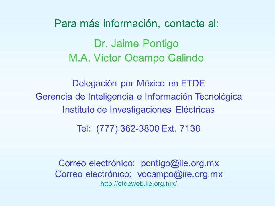 Para más información, contacte al: Dr. Jaime Pontigo M.A.