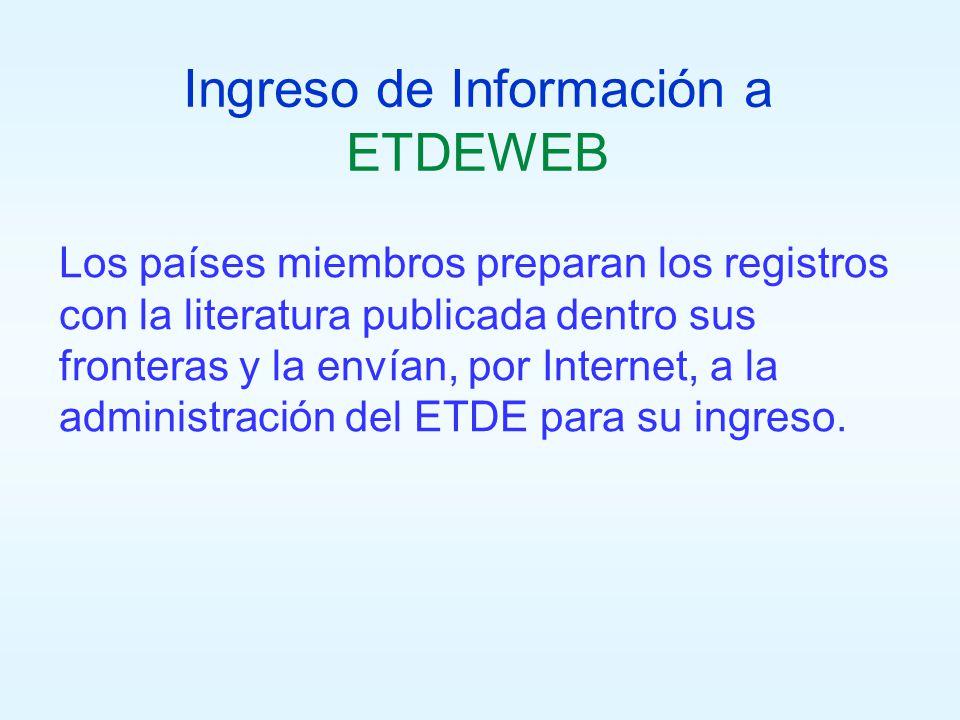 Ingreso de Información a ETDEWEB Los países miembros preparan los registros con la literatura publicada dentro sus fronteras y la envían, por Internet, a la administración del ETDE para su ingreso.