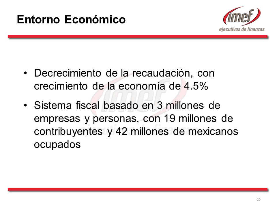 20 Entorno Económico Decrecimiento de la recaudación, con crecimiento de la economía de 4.5% Sistema fiscal basado en 3 millones de empresas y personas, con 19 millones de contribuyentes y 42 millones de mexicanos ocupados