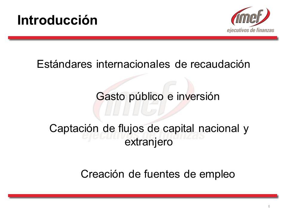 5 Introducción Estándares internacionales de recaudación Gasto público e inversión Captación de flujos de capital nacional y extranjero Creación de fuentes de empleo
