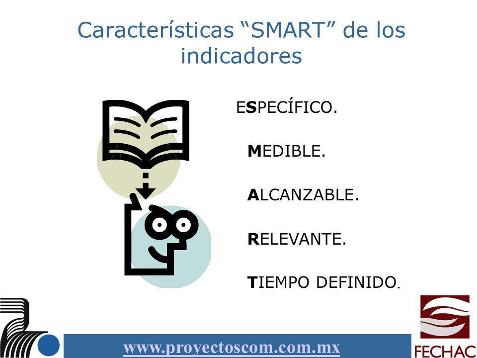 www.proyectoscom.com.mx Características SMART de los indicadores ESPECÍFICO. MEDIBLE. ALCANZABLE. RELEVANTE. TIEMPO DEFINIDO.