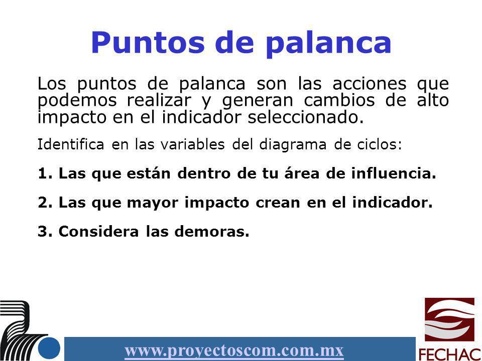 www.proyectoscom.com.mx Puntos de palanca Los puntos de palanca son las acciones que podemos realizar y generan cambios de alto impacto en el indicado