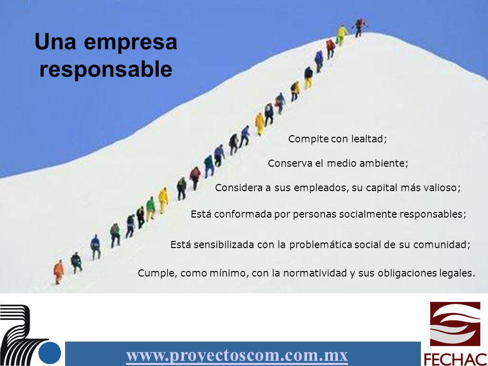 www.proyectoscom.com.mx Una empresa responsable Está conformada por personas socialmente responsables; Cumple, como mínimo, con la normatividad y sus