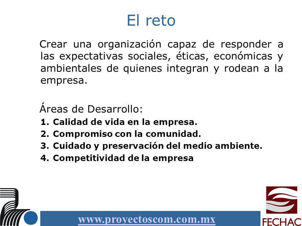 www.proyectoscom.com.mx El reto Crear una organización capaz de responder a las expectativas sociales, éticas, económicas y ambientales de quienes int