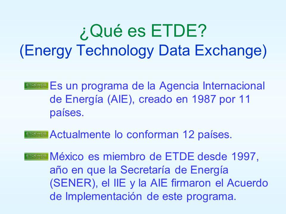 ¿Qué es ETDE? (Energy Technology Data Exchange) Es un programa de la Agencia Internacional de Energía (AIE), creado en 1987 por 11 países. Actualmente