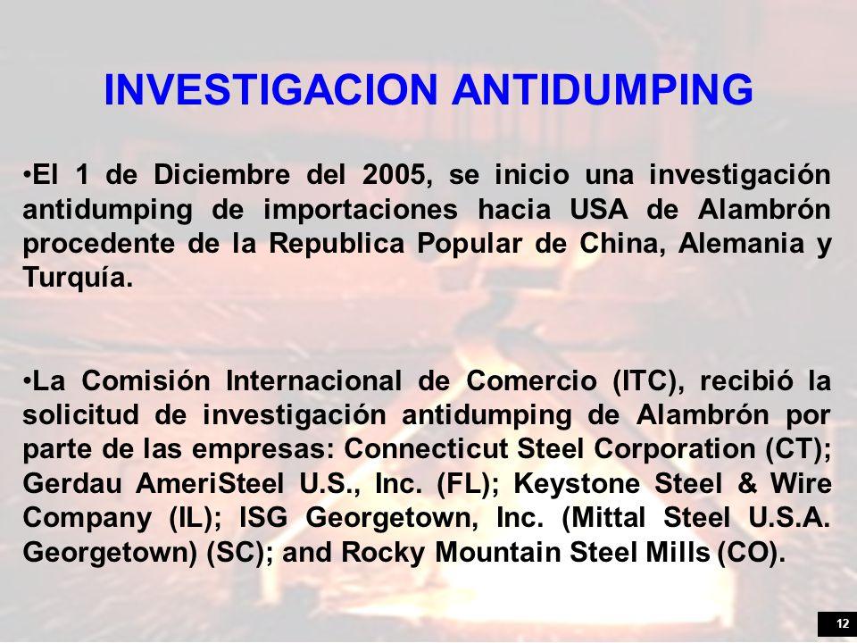 12 El 1 de Diciembre del 2005, se inicio una investigación antidumping de importaciones hacia USA de Alambrón procedente de la Republica Popular de China, Alemania y Turquía.