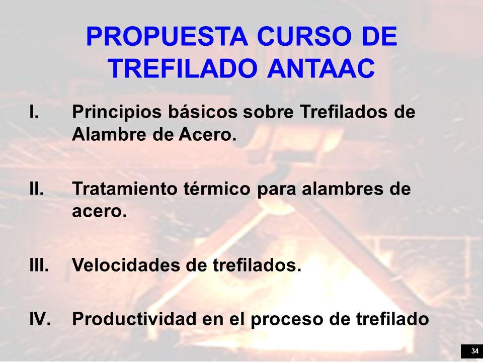 34 PROPUESTA CURSO DE TREFILADO ANTAAC I.Principios básicos sobre Trefilados de Alambre de Acero. II.Tratamiento térmico para alambres de acero. III.V