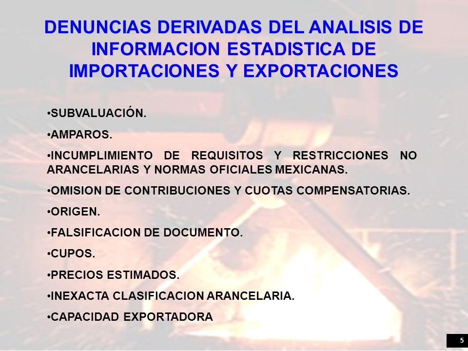5 DENUNCIAS DERIVADAS DEL ANALISIS DE INFORMACION ESTADISTICA DE IMPORTACIONES Y EXPORTACIONES SUBVALUACIÓN. AMPAROS. INCUMPLIMIENTO DE REQUISITOS Y R