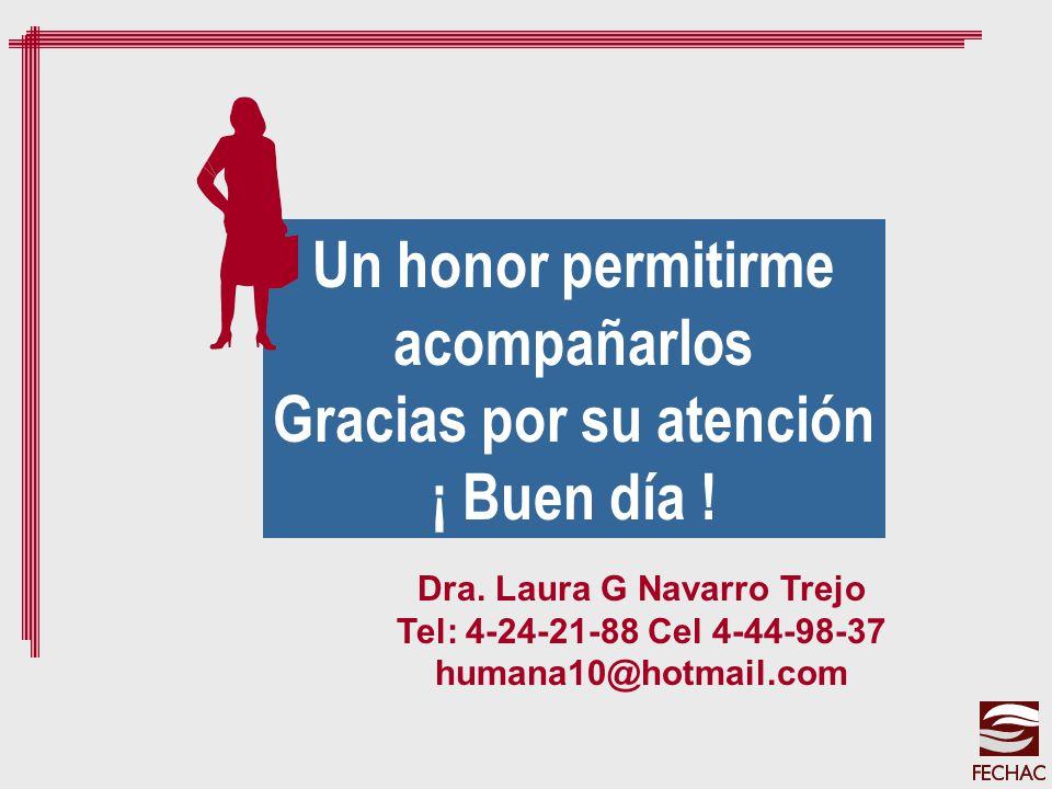 Dra. Laura G Navarro Trejo Tel: 4-24-21-88 Cel 4-44-98-37 humana10@hotmail.com Un honor permitirme acompañarlos Gracias por su atención ¡ Buen día !