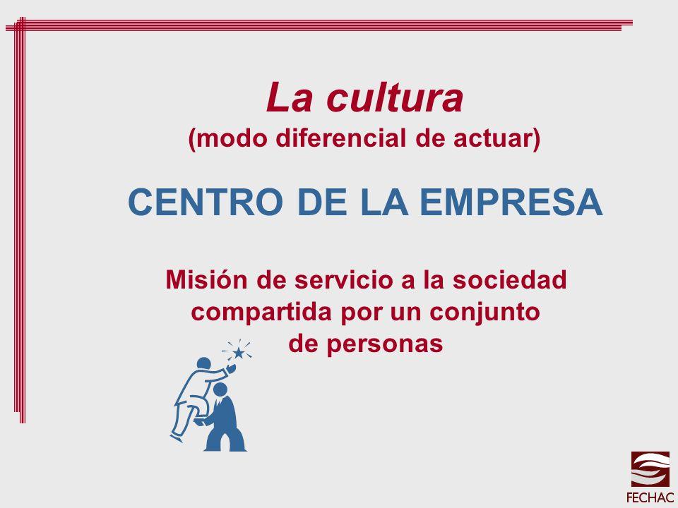 CENTRO DE LA EMPRESA La cultura (modo diferencial de actuar) Misión de servicio a la sociedad compartida por un conjunto de personas