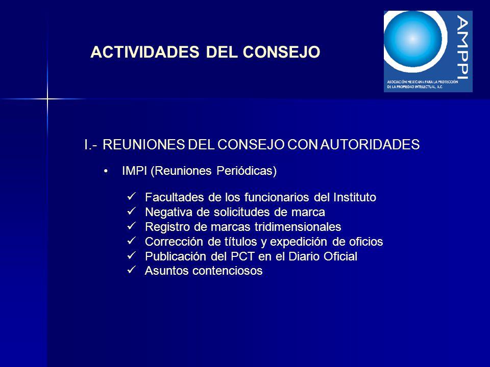 I.-REUNIONES DEL CONSEJO CON AUTORIDADES ACTIVIDADES DEL CONSEJO IMPI (Reuniones Periódicas) Facultades de los funcionarios del Instituto Negativa de