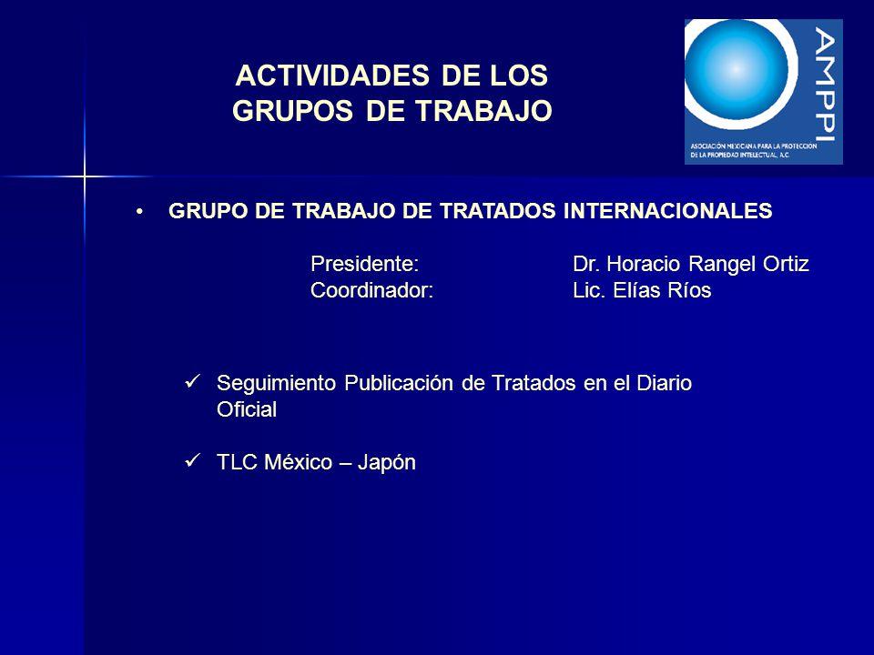 ACTIVIDADES DE LOS GRUPOS DE TRABAJO GRUPO DE TRABAJO DE TRATADOS INTERNACIONALES Presidente:Dr. Horacio Rangel Ortiz Coordinador:Lic. Elías Ríos Segu