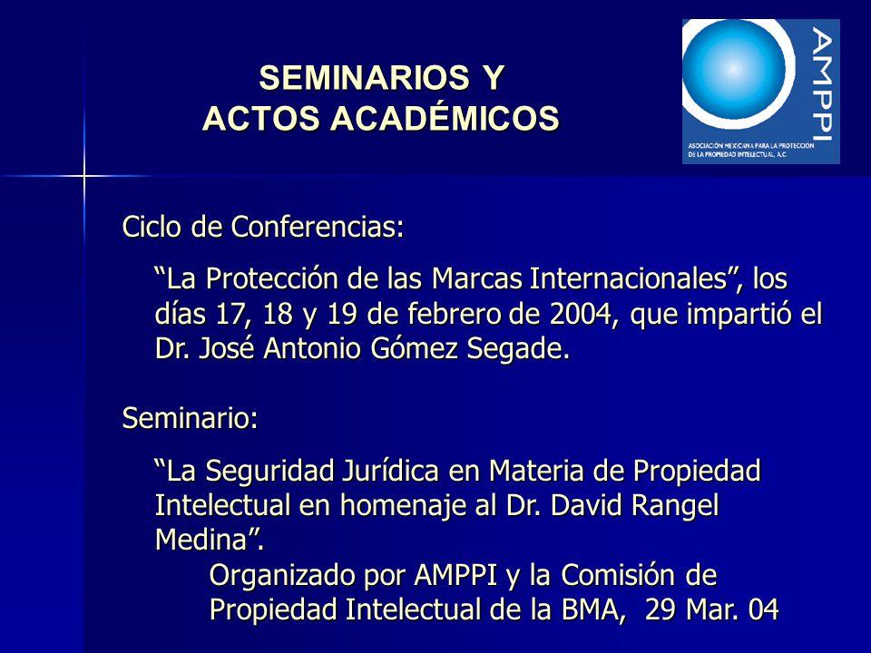 SEMINARIOS Y ACTOS ACADÉMICOS Ciclo de Conferencias: La Protección de las Marcas Internacionales, los días 17, 18 y 19 de febrero de 2004, que imparti