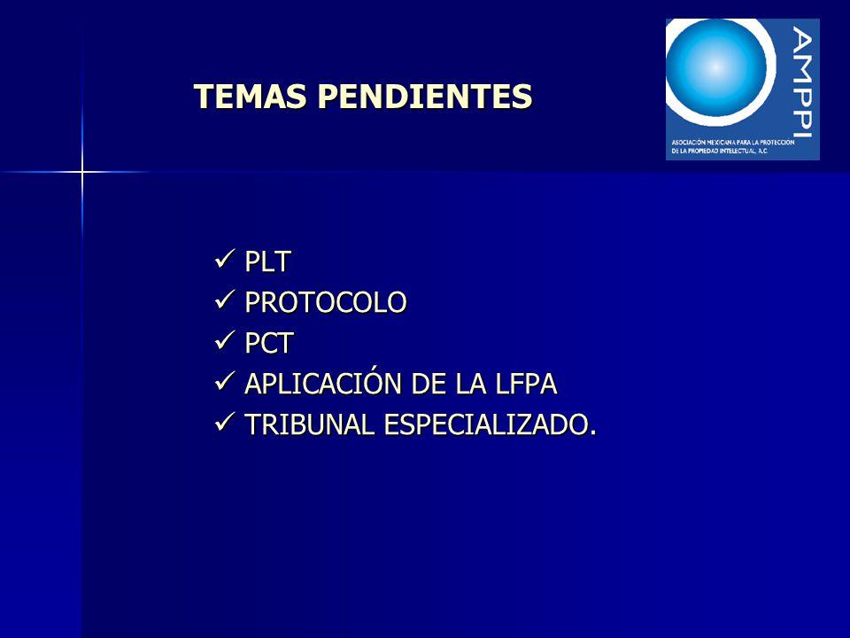 TEMAS PENDIENTES PLT PLT PROTOCOLO PROTOCOLO PCT PCT APLICACIÓN DE LA LFPA APLICACIÓN DE LA LFPA TRIBUNAL ESPECIALIZADO. TRIBUNAL ESPECIALIZADO.