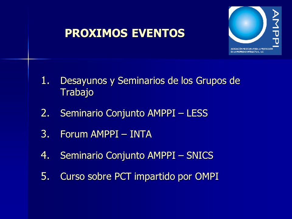 PROXIMOS EVENTOS 1. Desayunos y Seminarios de los Grupos de Trabajo 2. Seminario Conjunto AMPPI – LESS 3. Forum AMPPI – INTA 4. Seminario Conjunto AMP