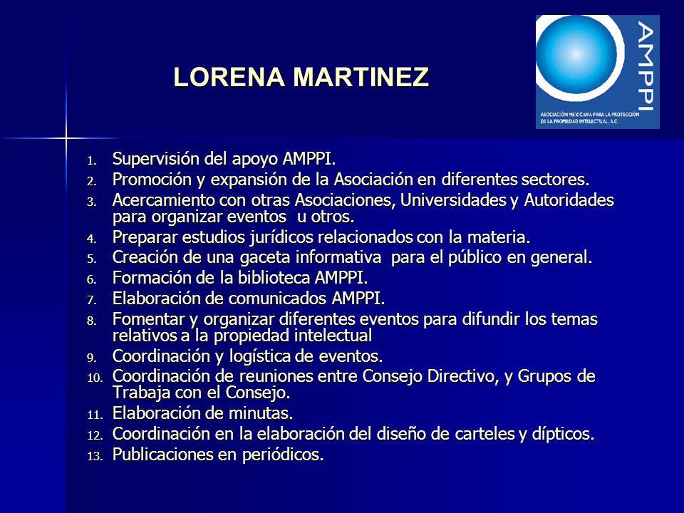 LORENA MARTINEZ 1. Supervisión del apoyo AMPPI. 2. Promoción y expansión de la Asociación en diferentes sectores. 3. Acercamiento con otras Asociacion