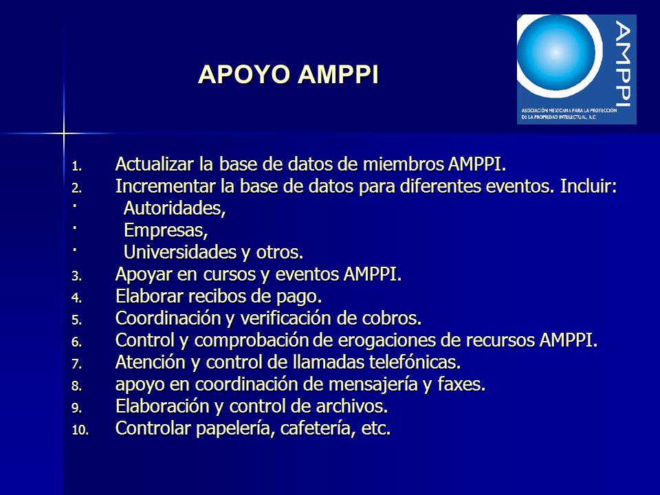 APOYO AMPPI 1. Actualizar la base de datos de miembros AMPPI. 2. Incrementar la base de datos para diferentes eventos. Incluir: · Autoridades, · Empre