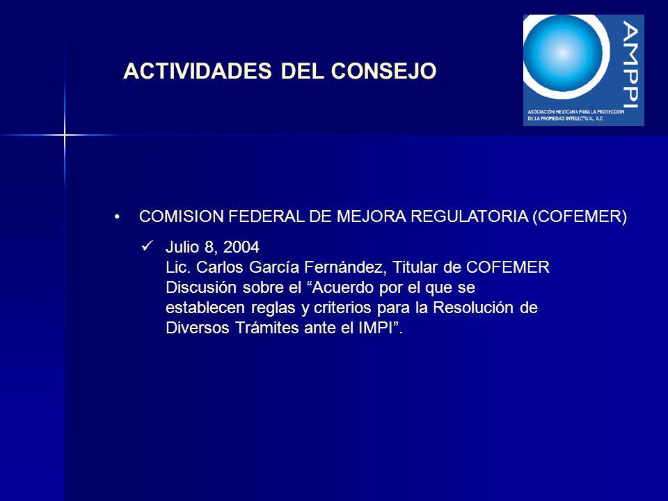ACTIVIDADES DEL CONSEJO COMISION FEDERAL DE MEJORA REGULATORIA (COFEMER) Julio 8, 2004 Lic. Carlos García Fernández, Titular de COFEMER Discusión sobr