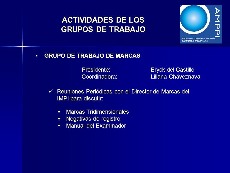 ACTIVIDADES DE LOS GRUPOS DE TRABAJO GRUPO DE TRABAJO DE MARCAS Presidente:Eryck del Castillo Coordinadora:Liliana Cháveznava Reuniones Periódicas con