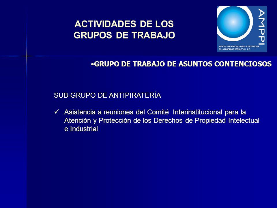 ACTIVIDADES DE LOS GRUPOS DE TRABAJO SUB-GRUPO DE ANTIPIRATERÍA Asistencia a reuniones del Comité Interinstitucional para la Atención y Protección de