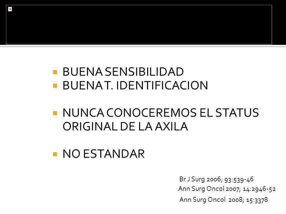 BUENA SENSIBILIDAD BUENA T. IDENTIFICACION NUNCA CONOCEREMOS EL STATUS ORIGINAL DE LA AXILA NO ESTANDAR Ann Surg Oncol 2008; 15:3378 Ann Surg Oncol 20