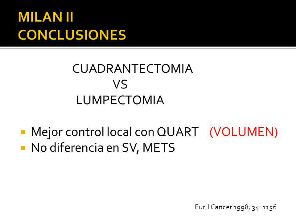 CUADRANTECTOMIA VS LUMPECTOMIA Mejor control local con QUART (VOLUMEN) No diferencia en SV, METS Eur J Cancer 1998; 34: 1156