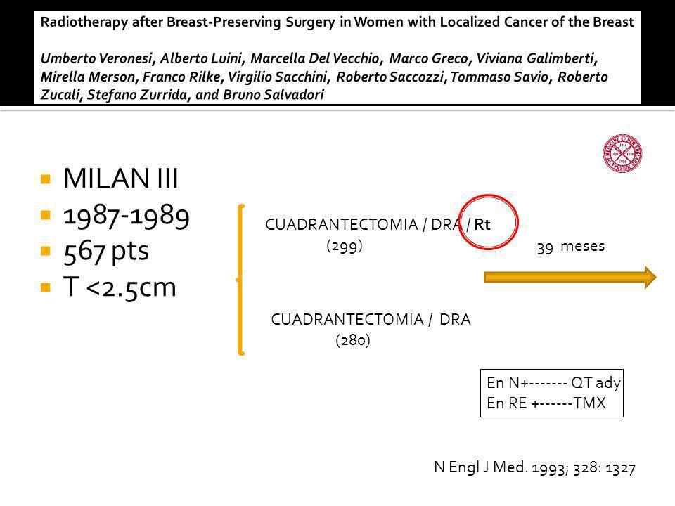 MILAN III 1987-1989 567 pts T <2.5cm CUADRANTECTOMIA / DRA / Rt (299) CUADRANTECTOMIA / DRA (280) 39 meses En N+------- QT ady En RE +------TMX N Engl