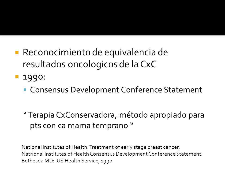 Reconocimiento de equivalencia de resultados oncologicos de la CxC 1990: Consensus Development Conference Statement Terapia CxConservadora, método apr